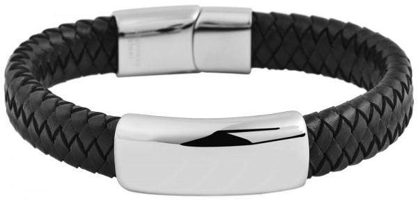 Akzent Geflochtenes Armband aus Echtleder und Edelstahl in Schwarz