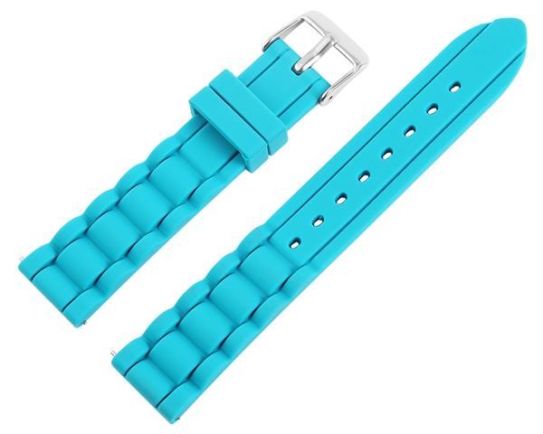 Just Silikon Uhrenarmband, hellblau, Edelstahldornschließe, Anstoßbreite 18 mm