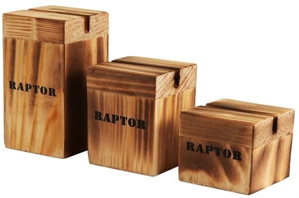 Raptor Aufsteller aus Holz, 3er Set