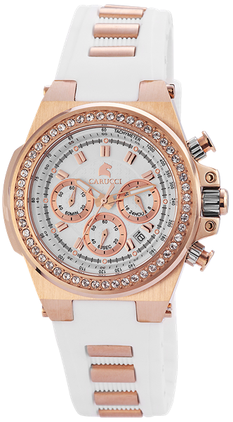 Carucci CA2215 Chronograph Damenuhr mit Kautschukband - UVP 229,95€