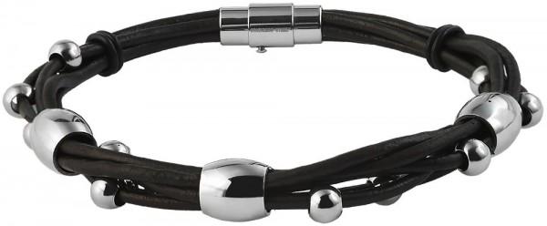 Akzent Geflochtenes Armband aus Echtleder und Edelstahl in Dunkelbraun