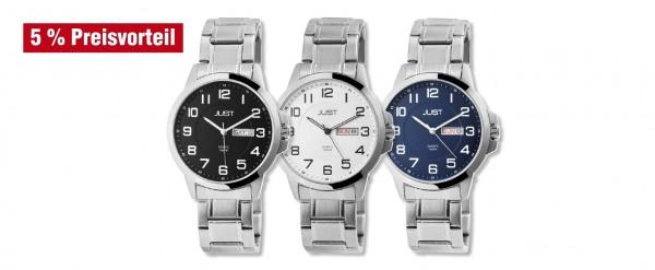Just Herren Uhren mit Edelstahlarmband im 3er-Set, 5% Preisvorteil