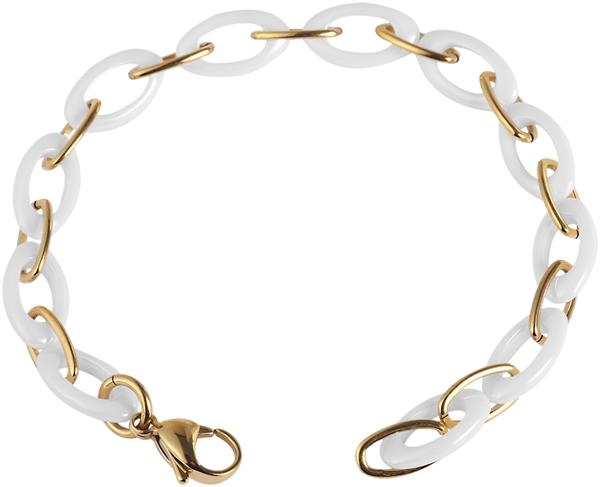 Just Schmuckarmband aus Keramik und Edelstahl in Weiß mit IP Gold-Beschichtung l UVP 44,90 €