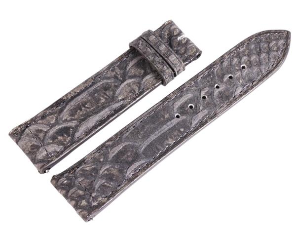Carucci Basic Echtleder Armband in grau, Eidechse, flach, 22 mm
