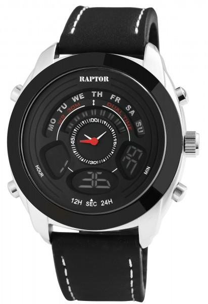 Raptor RA20-0001 Analog-Digital Herrenuhr mit Silikon-Silikonband - UVP 49,95 €