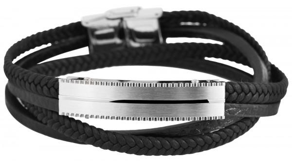 Echt Leder Armband mit Edelstahlelementen, 43 cm,
