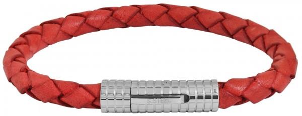 Akzent Armband aus Echt Leder und Edelstahl, 22 cm