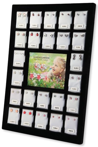 Kinderohrstecker im Set mit 24 Echtsilber Ohrsteckern sortiert + gratis Display