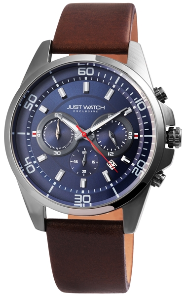 JUST WATCH EXCLUSIVE JWE006 Chronograph Herrenuhr mit Echtlederband - UVP 89,95€