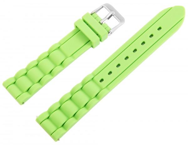 Just Silikon Uhrenarmband, hellgrün, Edelstahldornschließe, Anstoßbreite 18 mm