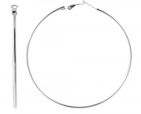 Edelstahl Creolen, silberfarbig, Durchmesser 70mm