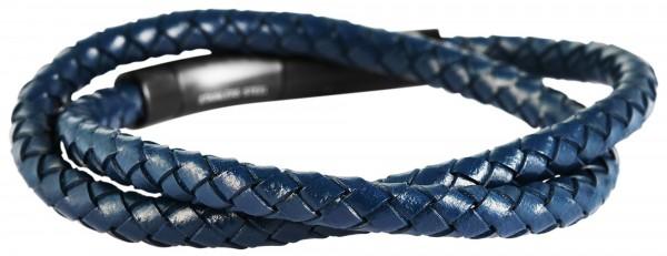 Akzent Geflochtenes Armband aus Edelstahl und Echtleder in Schwarz mit IP Black-Beschichtung