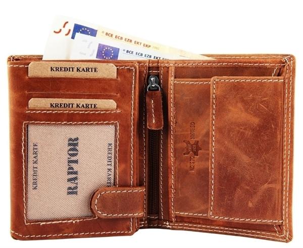 Raptor Herren Geldbörse aus Echtleder. Format 9 x 12 cm.