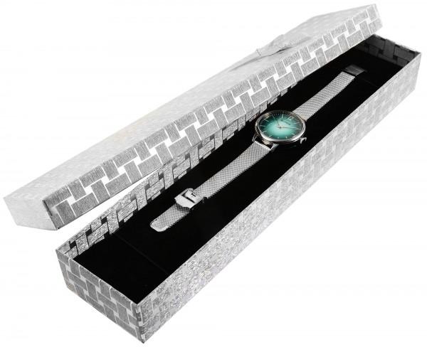 Uhrenbox mit Schleife, VE6, Maße: 30 x 6,5 x 3,5 cm