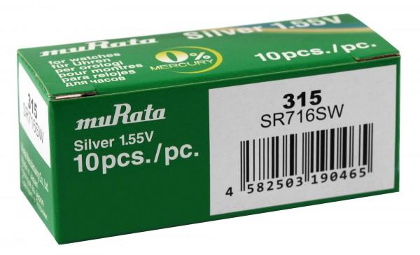 MURATA Knopfzellen, 0% Quecksilber , Verpackungsinhalt 10 Stück