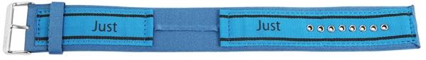 Just Textil Unterlegband in blau/schwarz, 24 mm Anstoß, Edelstahldornschließe