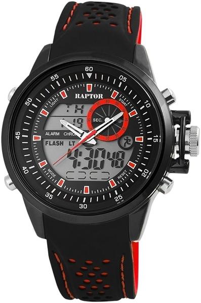 Raptor 2979-0082 Analog-Digital Herrenuhr mit Silikon-Silikonband - UVP 49,95 €