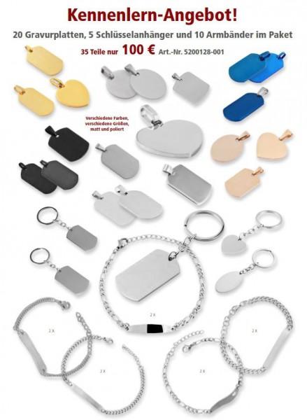 Set bestehend aus 20 Gravurplatten, 5 Schlüsselanhängern und 10 Armbändern