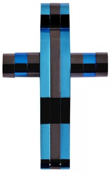 Akzent Edelstahlanhänger in Blau, Breite: 25 mm / Höhe: 40 mm