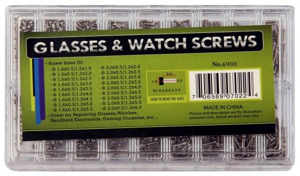 Schrauben für Uhren, Schmuck und Brillen im Set, Größe 1,6 x 0,5/1,2 x 1,6 bis Größe 2,0 x 05/1,2 x