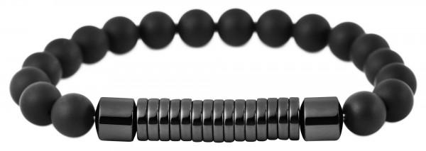 Edelstahl Armband, 18 Kugeln aus Onyx, 15 Scheiben aus Hematite