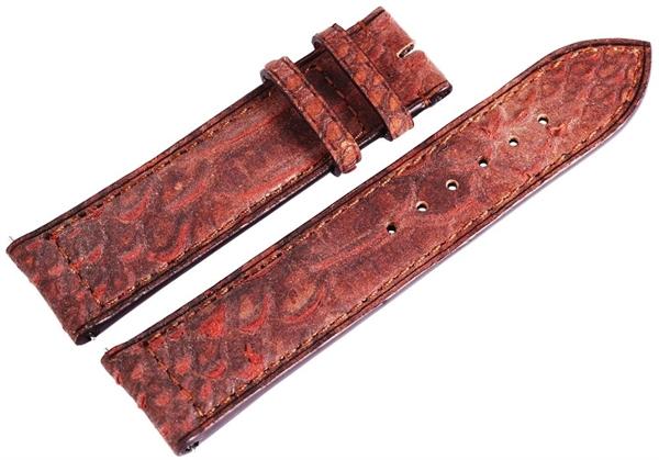 Carucci Basic Echtleder Armband in dunkelbraun, Eidechse, gepolstert, 22 mm