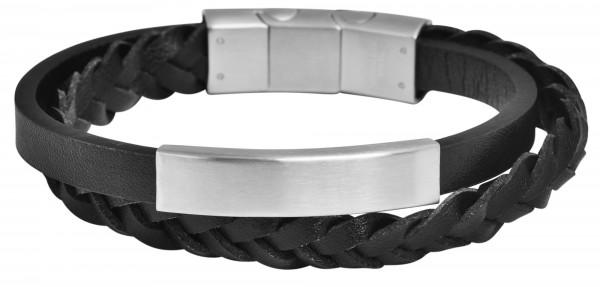 Akzent Armband aus Echtleder und Edelstahl, schwarz, silberfarbig