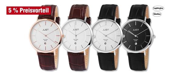 Just Herren Analog Uhren mit Echtlederband im 3er-Set, 5% Preisvorteil