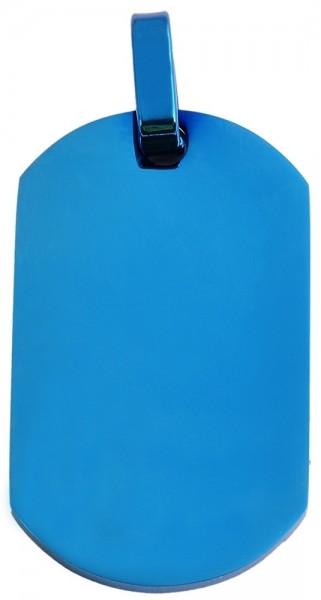 Akzent Edelstahlanhänger in Blau, Breite: 22 mm / Höhe: 37 mm