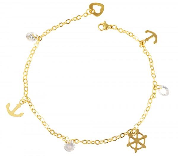 Akzent Edelstahl Fußkette, 25cm, goldfarbig