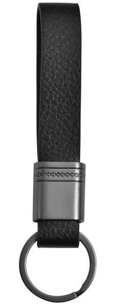 Edelstahl Schlüsselanhänger mit Echt Lederband, 17x13cm