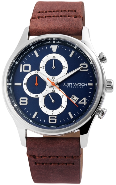 JUST WATCH EXCLUSIVE JWE002 Chronograph Herrenuhr mit Echtlederband - UVP 89,95€