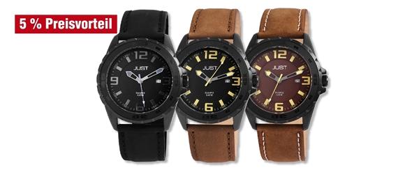Just Herren Analog Uhren mit Echlederband im 3er-Set, 5% Preisvorteil