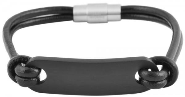 Akzent Armband aus Echtleder und Edelstahl in Schwarz mit IP Black-Beschichtung