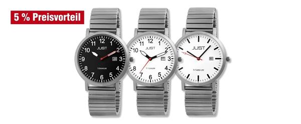 Just Herren Titan Uhren mit Titanzugband im 3er-Set, 5% Preisvorteil
