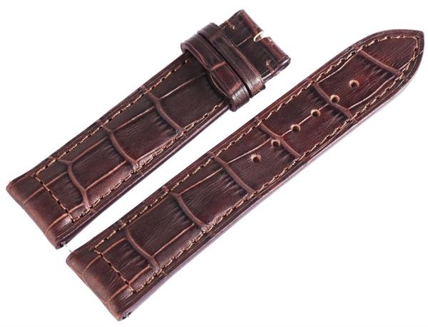 Carucci Basic Echtleder Armband in dunkelbraun, Kroko, gepolstert, 22 mm