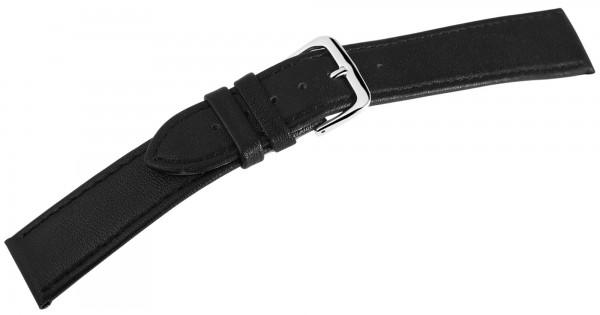 Basic Echtleder Armband in schwarz, glatt, flach, silberfabige Dornschließe, VE12
