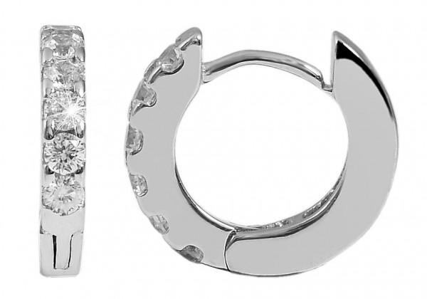 925 Silber Ohrringe, 925/rhodiniert, 1,4 g, Steinbesatz, Durchmesser: 1,1 cm / Stärke: 0,2 cm