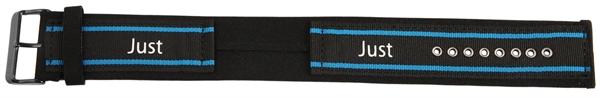 Just Textil Unterlegband in schwarz/blau, 24 mm Anstoß, Edelstahldornschließe