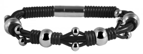 Akzent Geflochtenes Armband aus Lederimitat und Edelstahl in silberfarbig