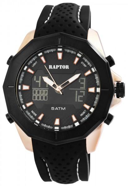 RAPTOR Herrenuhr mit Silikonband, Analog/Digitale Anzeige