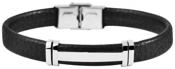 Akzent Armband aus Echt Leder und Edelstahl, 22,5 cm