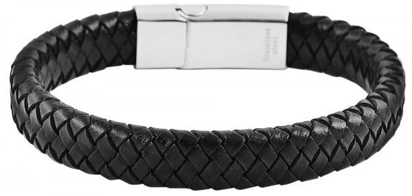 Akzent Armband aus Echtleder und Edelstahl in Schwarz
