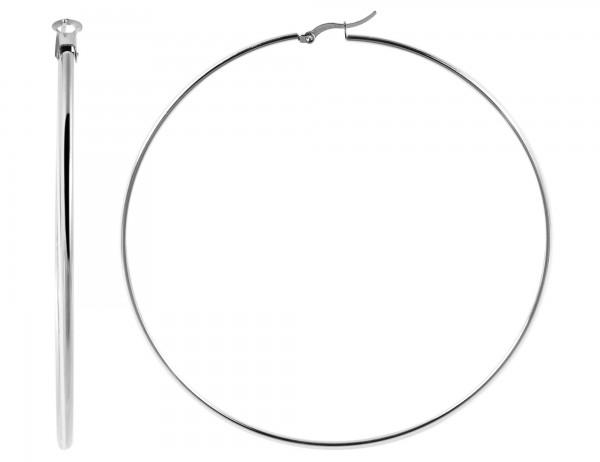 Edelstahl Creolen, silberfarbig, Durchmesser 100mm