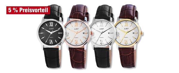 Just Damen Analog Uhren mit Echtlederband im 4er-Set, 5% Preisvorteil