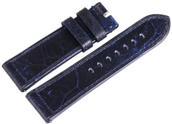 Carucci Basic Echtleder Armband in dunkelblau, glatt, flach, 24 mm