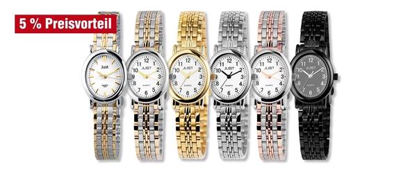 Just Damen Analog Uhren mit Edelstahl Zugband im 6er-Set, 5% Preisvorteil