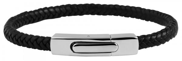 Akzent Armband aus Echt Leder und Edelstahl, 21,5cm