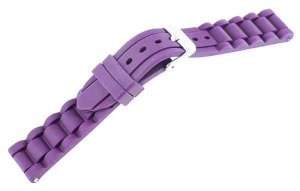 Just Silikon Uhrenarmband, lila, Edelstahldornschließe, Anstoßbreite 18 mm