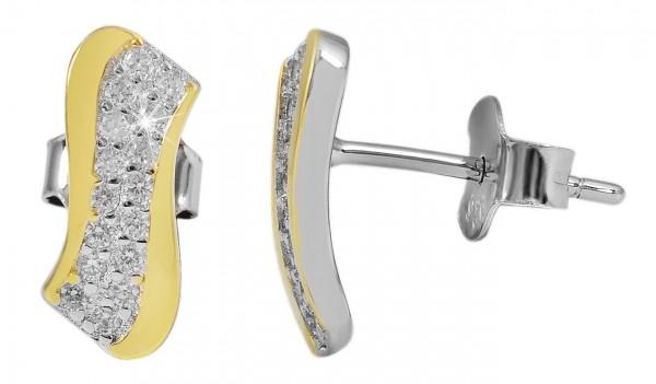 925 Silber Ohrringe, 925/rhodiniert, 1,27g, Stein, Länge: 2,0 cm / Breite: 0,5 cm / Stärke: 0,15 cm